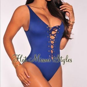 Other - Navy Blue Lace Up Swimsuit